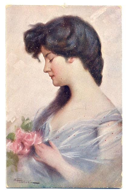 Image of woman on old postcard 2 | Женский образ на старой открытке 2 (152 работ)