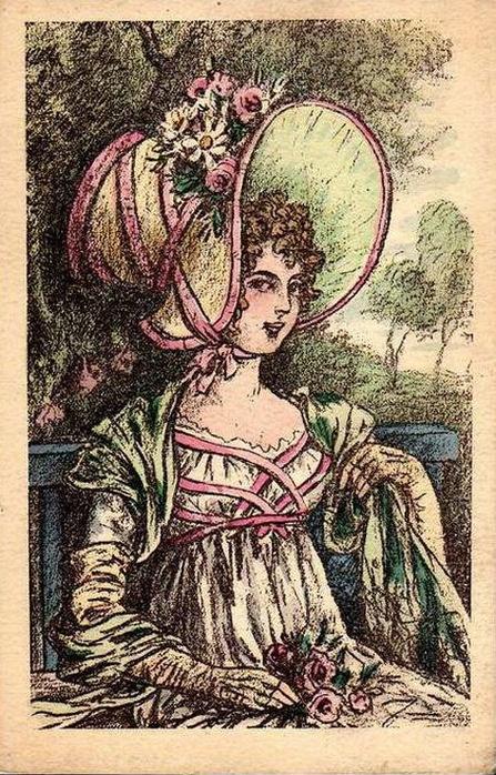 Image of woman on old postcard | Женский образ на старой открытке (76 работ)