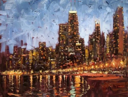 Городские пейзажи импрессиониста Эжена Джей Папроски (E. J. Paprocki) (53 работ)