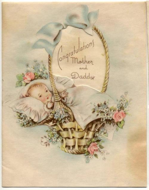Открытка ретро с рождением мальчика