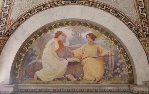 Фрески Библиотеки Конгресса США. Часть 5. Charles Sprague Pearce (1851-1914) (7 работ)