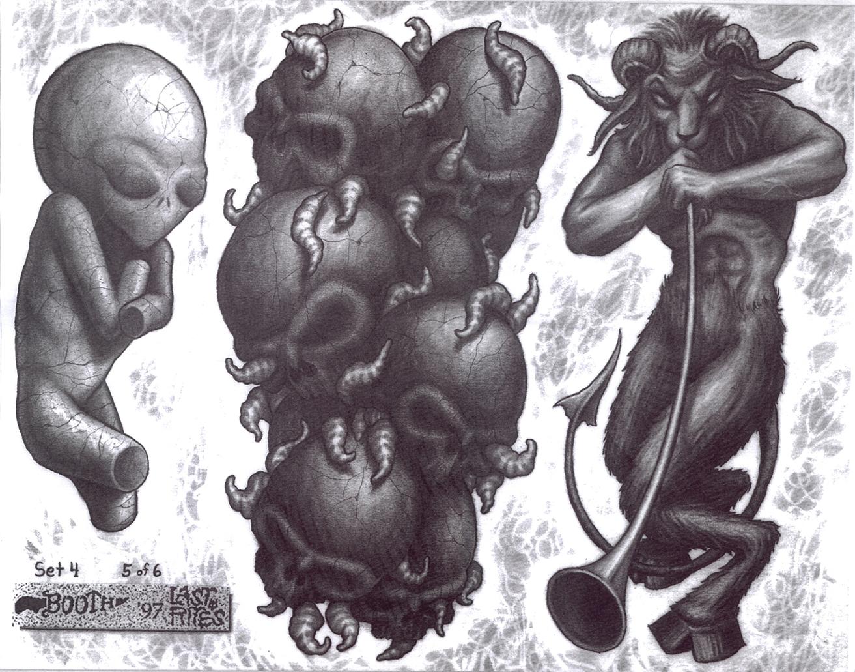 Эскизы тату полу череп