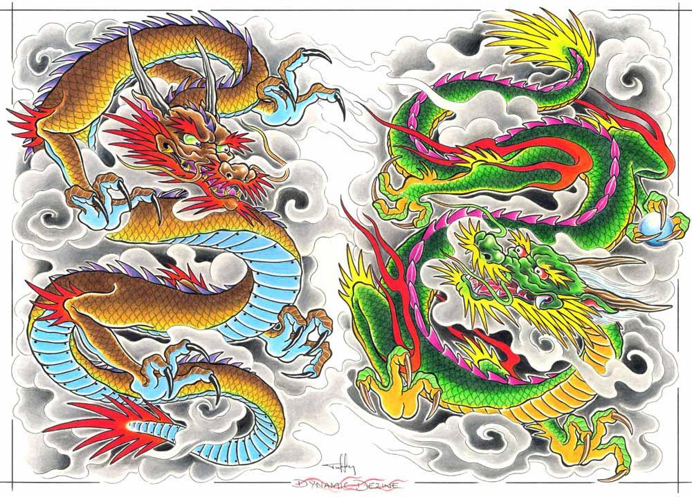 Драконы японские татуировки 98