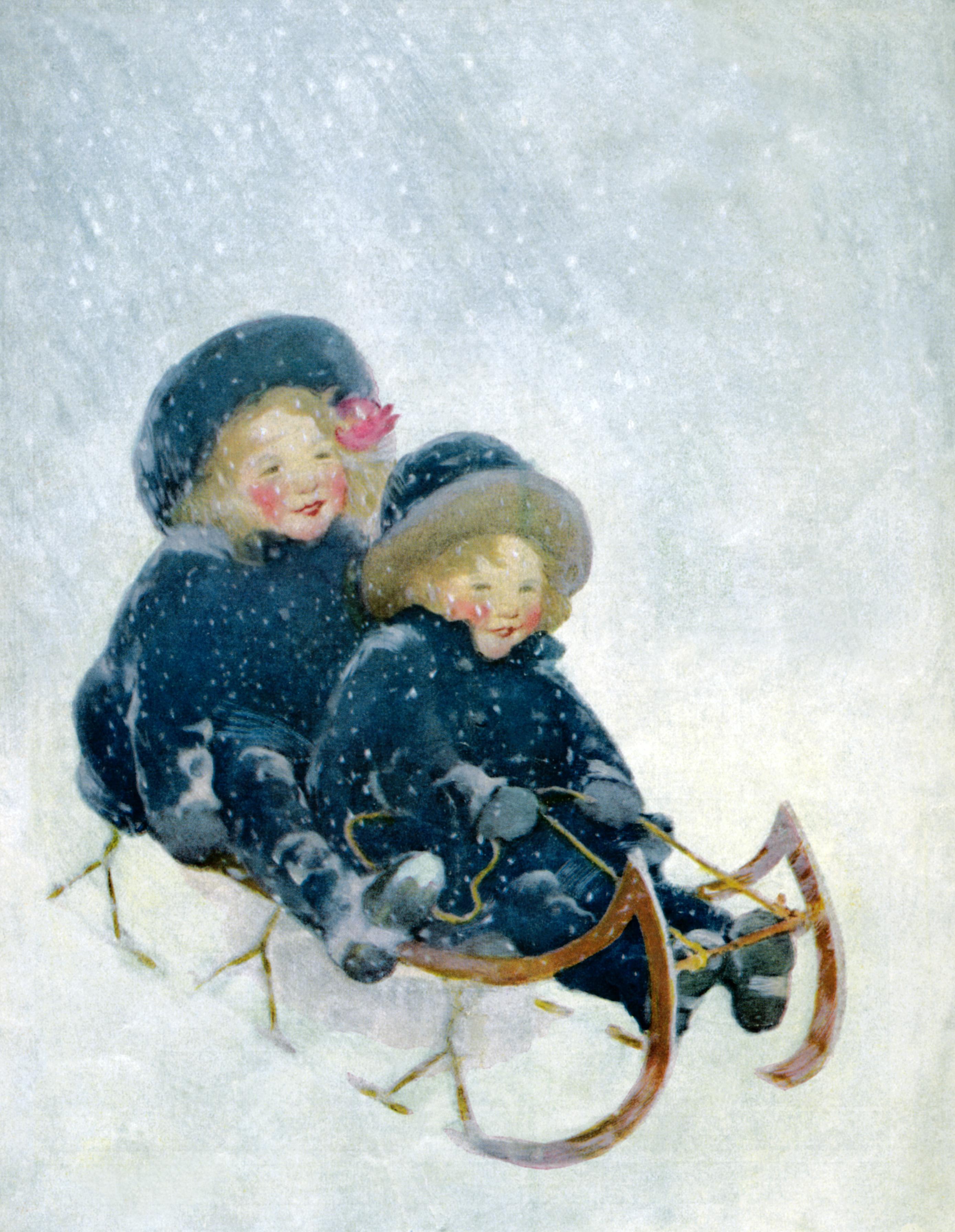 старинные открытки с детками зимой столовая форма