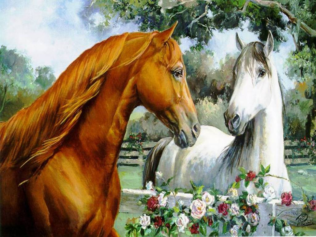 такую рисунки с лошадьми красивые тянулась целых