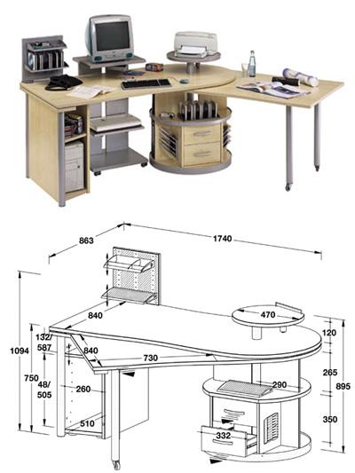 Мебель чертежи компьютерных столов