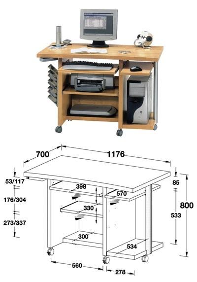 Чертежи компьютерных столов! (22 фото)