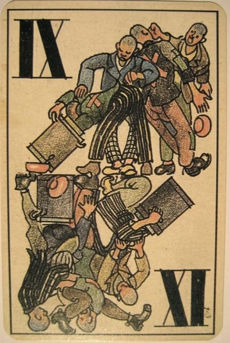 Полный набор игральных карт заключенных концентрационного лагеря Дахау (31 фото)
