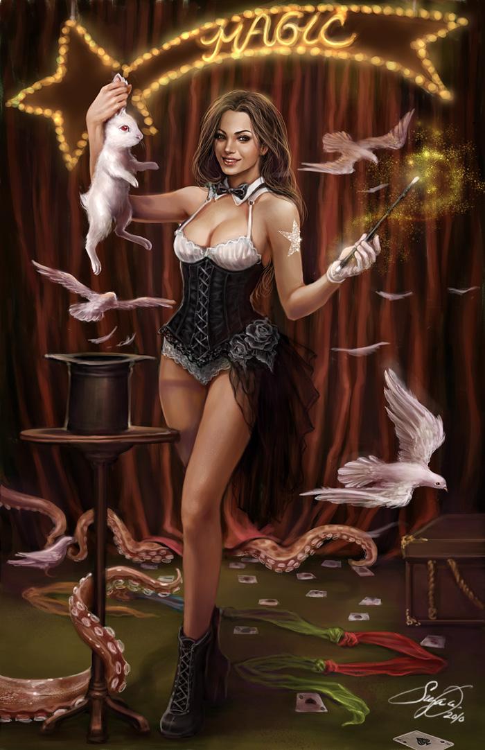 Голые рисованные девушки-чудовища и инопланитянки