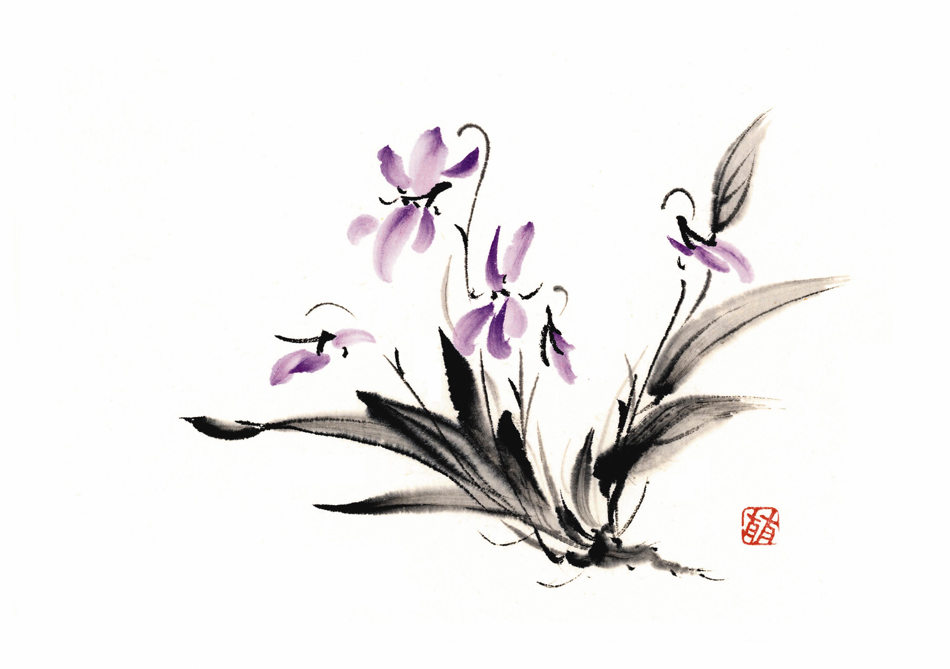 Акварель цветы японский художник фото