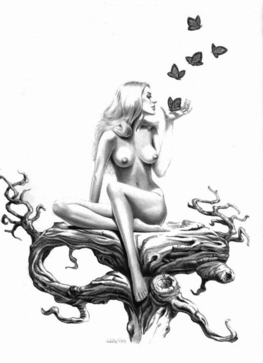 Эротические черно белые рисунки карандашом 2 фотография