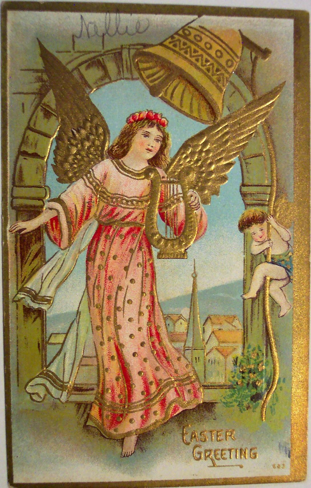 Старинные открытки с нем ангела 10