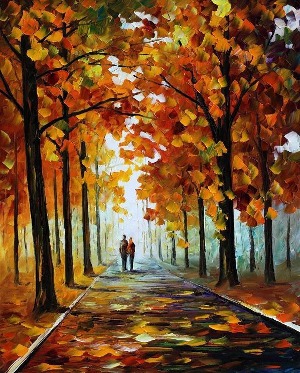 Artist Paints Sunset Scenes On Leaves