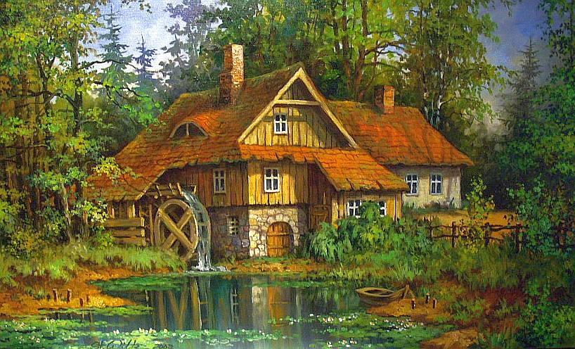 осень домик обои