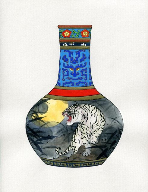 Картины на шелке и вазах от Кэролайн Янг (Caroline Young). Дополнение (63 работ)