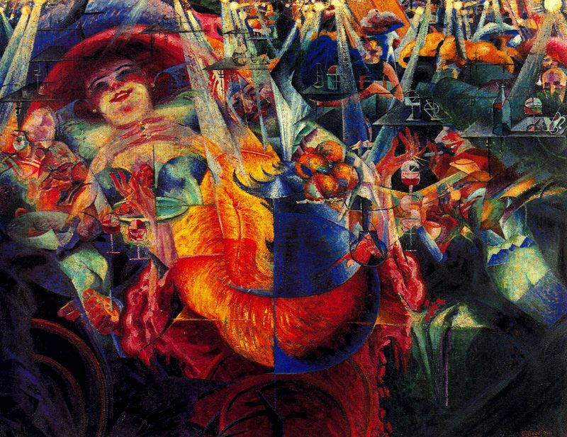 an analysis of dynamism of a soccer player by umberto boccioni in the museum of modern art