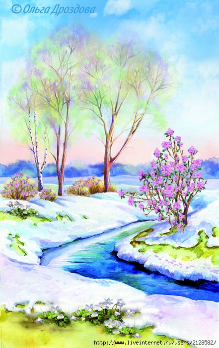 Весенние пейзажи рисуем
