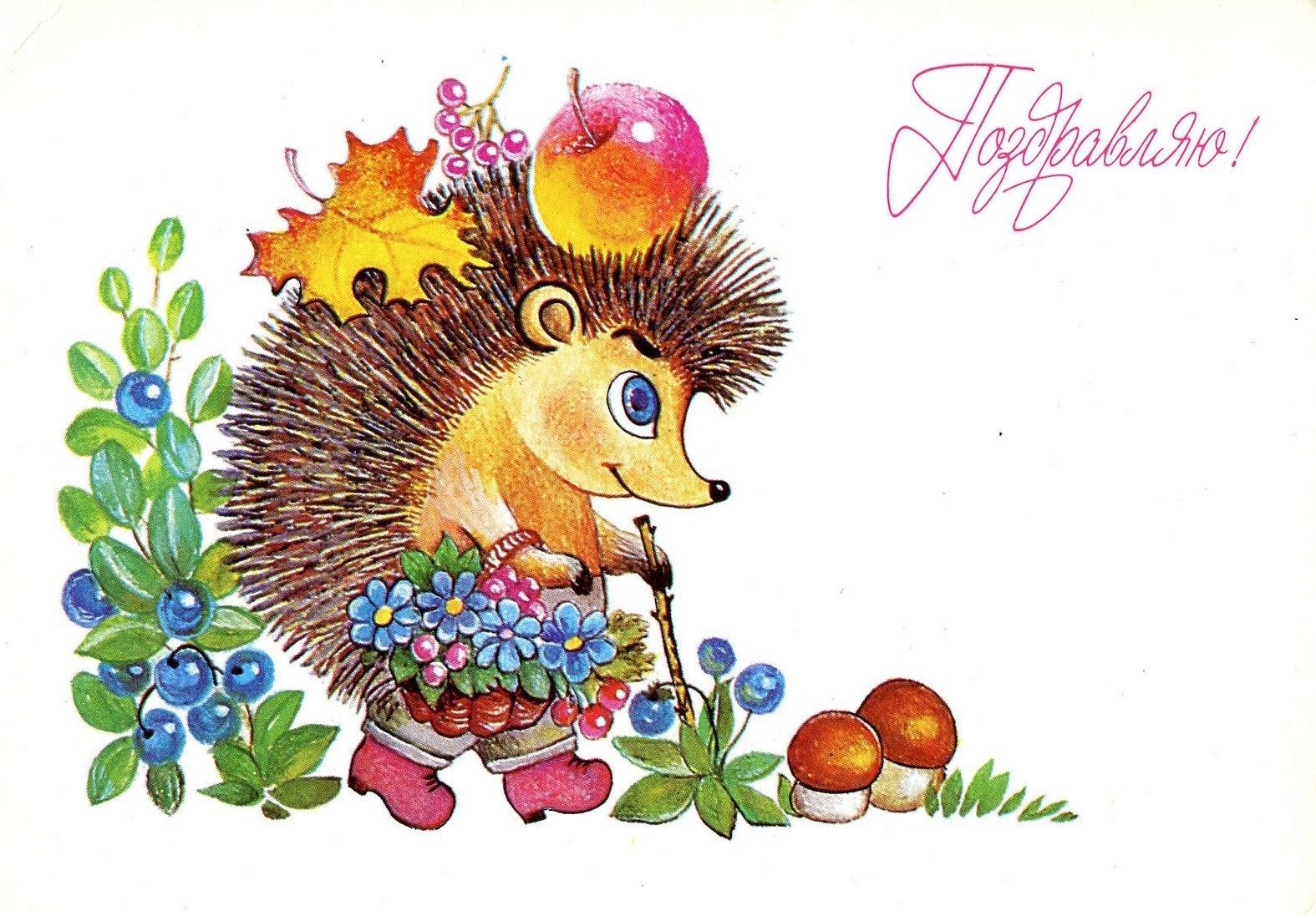 Поздравительные открытки с днем рождения с ёжиком