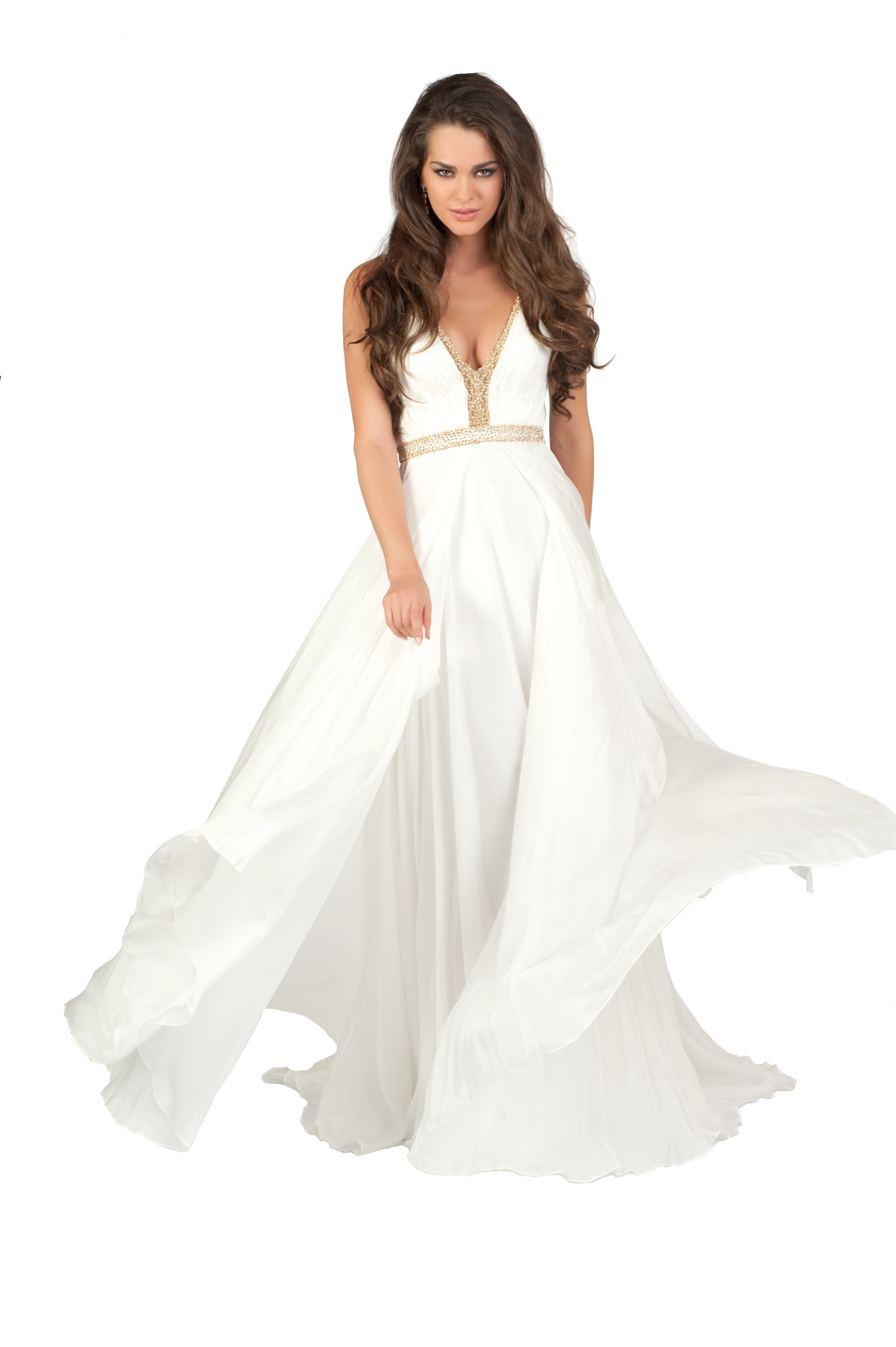 Фото девушки в белом вечернем платье