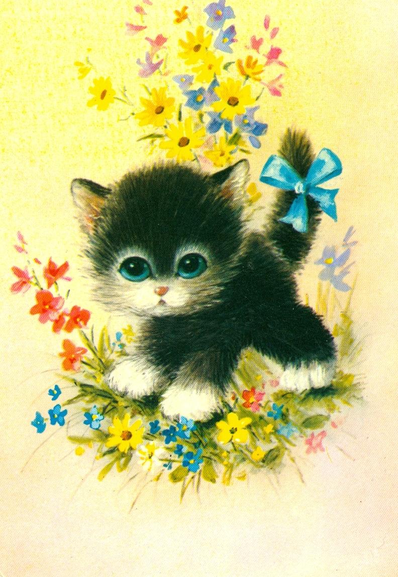 Картинки кошек с открыток 479