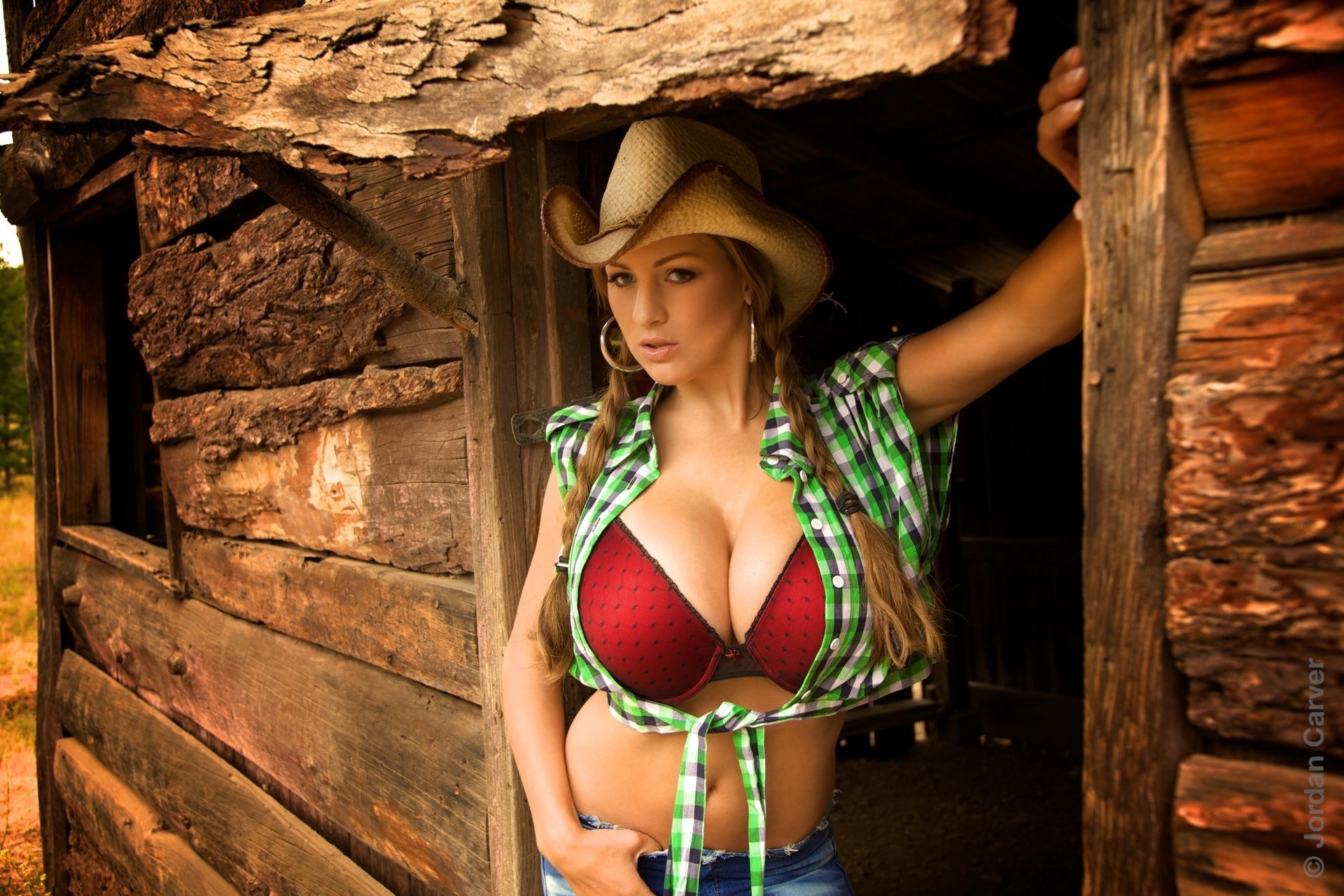 Nude hot blonde brunette cowgirl