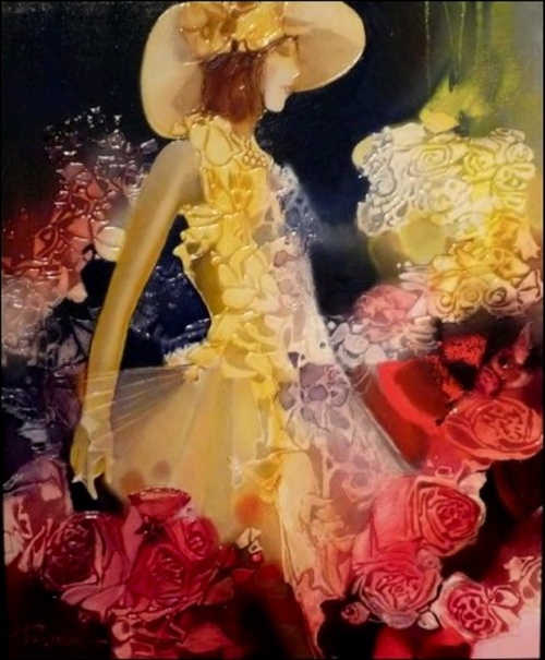 Женщины и цветы Joel Rougie (37 работ)