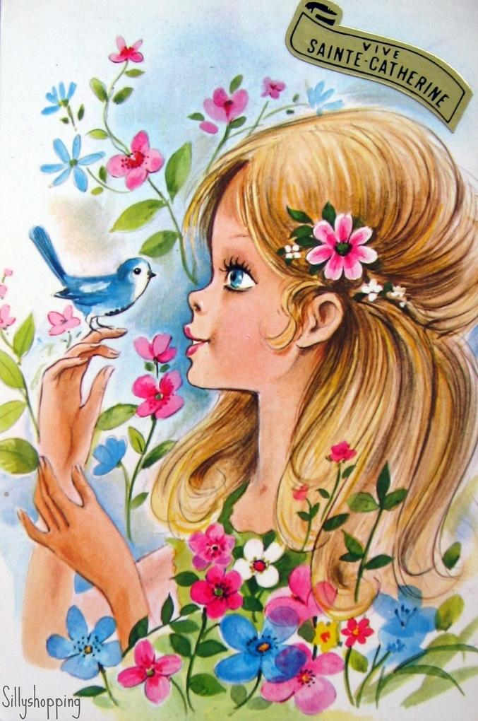 Девочка с цветами открытка 8