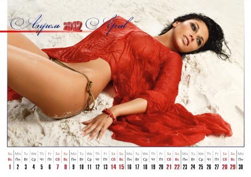 Перекидной календарь, с красивыми девушками, на 2012 год (13 фото)