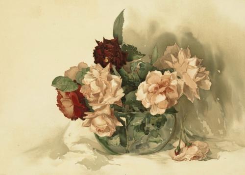 Винтажные цветы. Литография. (24 работ)