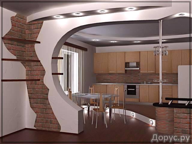 Арки из гипсокартона на кухню дизайн интерьера