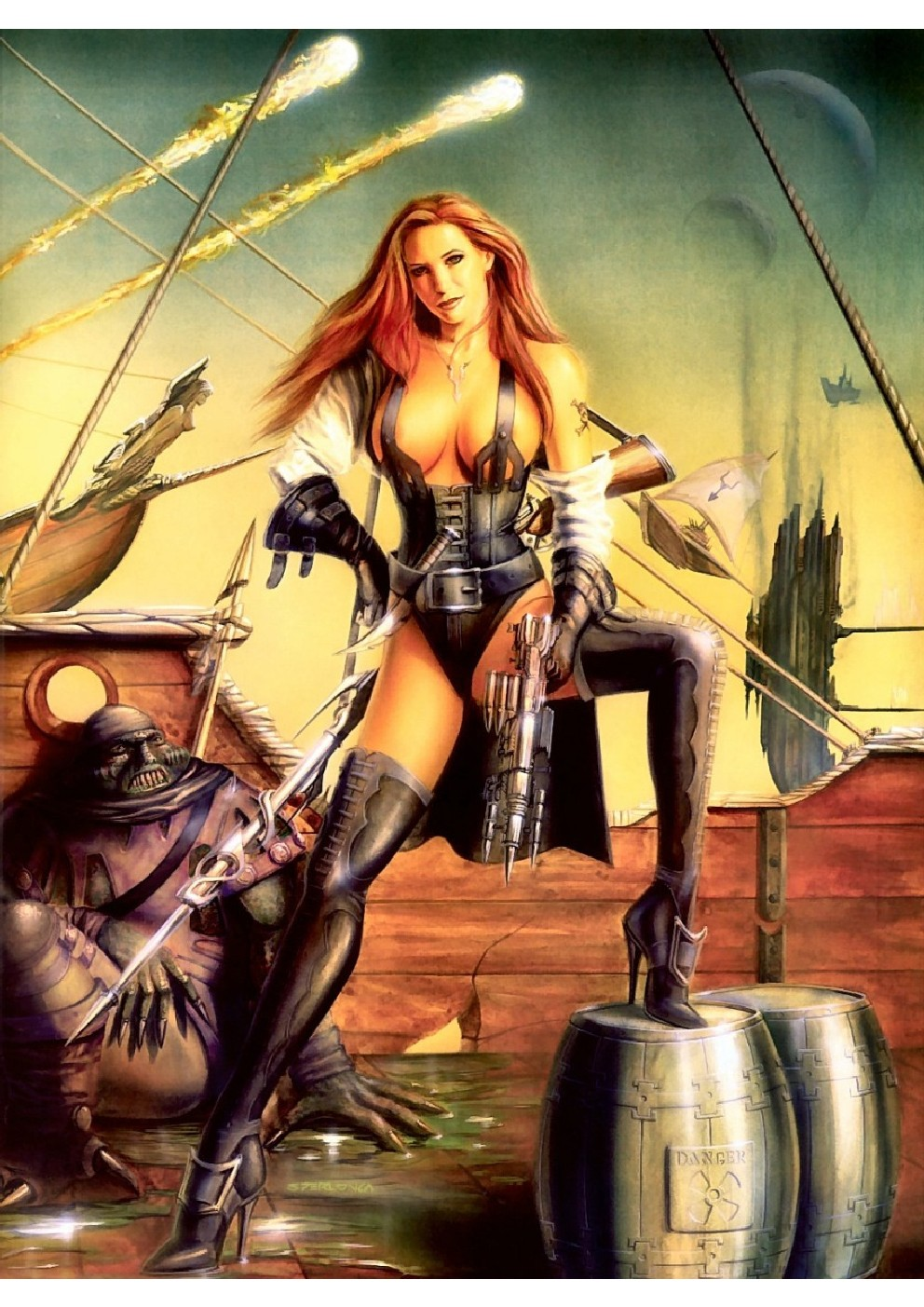 Erotic pirate woman anime video