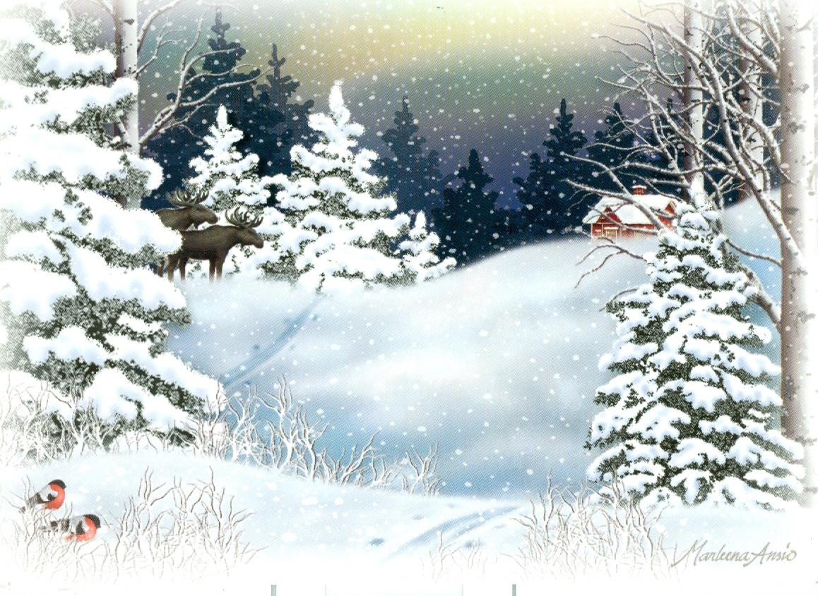 Зимний пейзаж на открытках