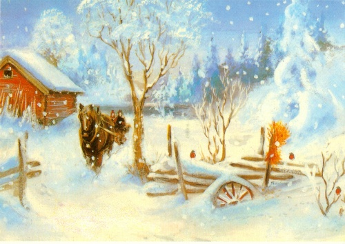 Зимние пейзажи на открытках (40 открыток)
