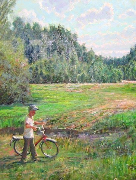 Велосипед в живописи (96 работ)