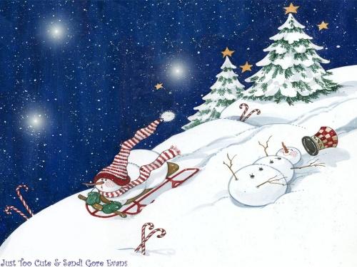 Иллюстратор Sandi Goro Evans. Новогодние открытки (22 открыток)